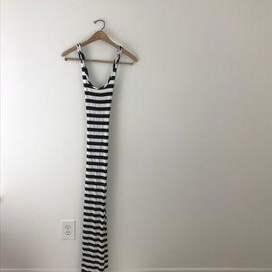 Snap Maxi Dress NWT Stripe Black white Small